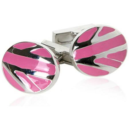 - Unique Pink Designer Enamel Silver Cufflinks by Cuff-Daddy