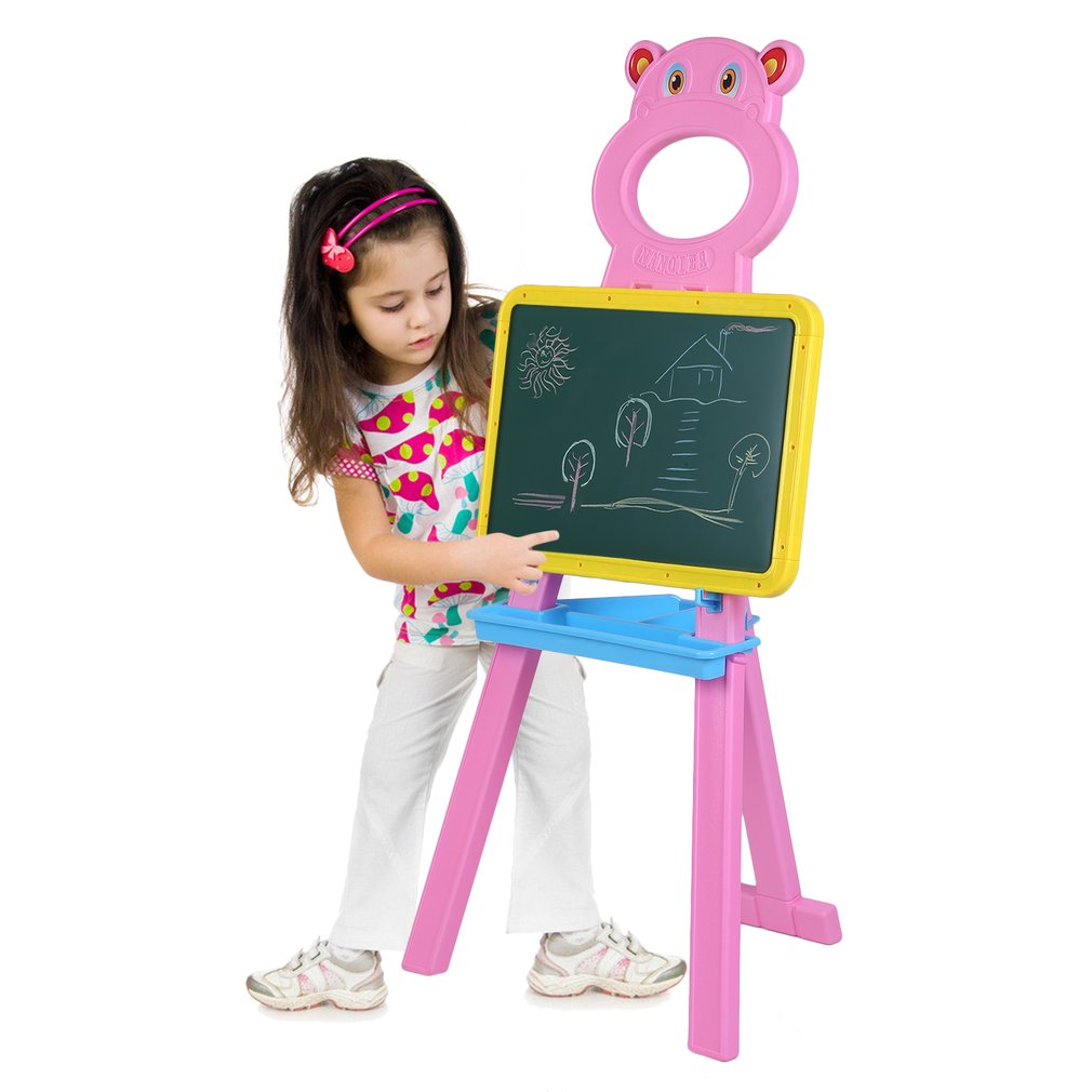Children Kids Learning Drawing Practice Handwriting Board Height Adjustable Floor Stand Rack Bracket Educational Toy, Pink Bear