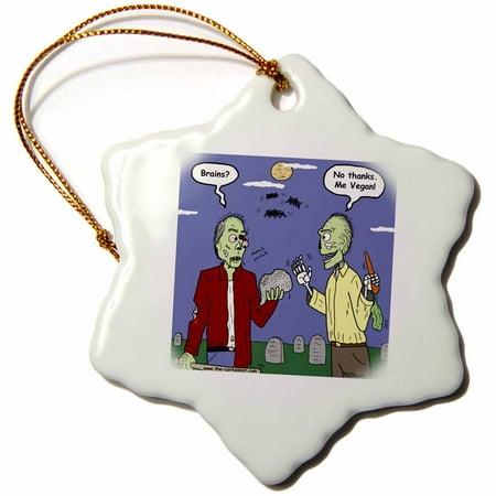 3dRose Halloween - Zombie Vegans - Snowflake Ornament, 3-inch - Halloween Rezepte Vegan