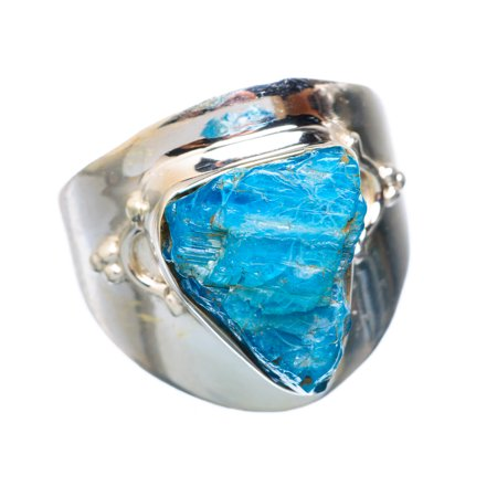 Rough Apatite Ring Size 9.25 (925 Sterling Silver)  - Handmade Boho Vintage Jewelry RING912103
