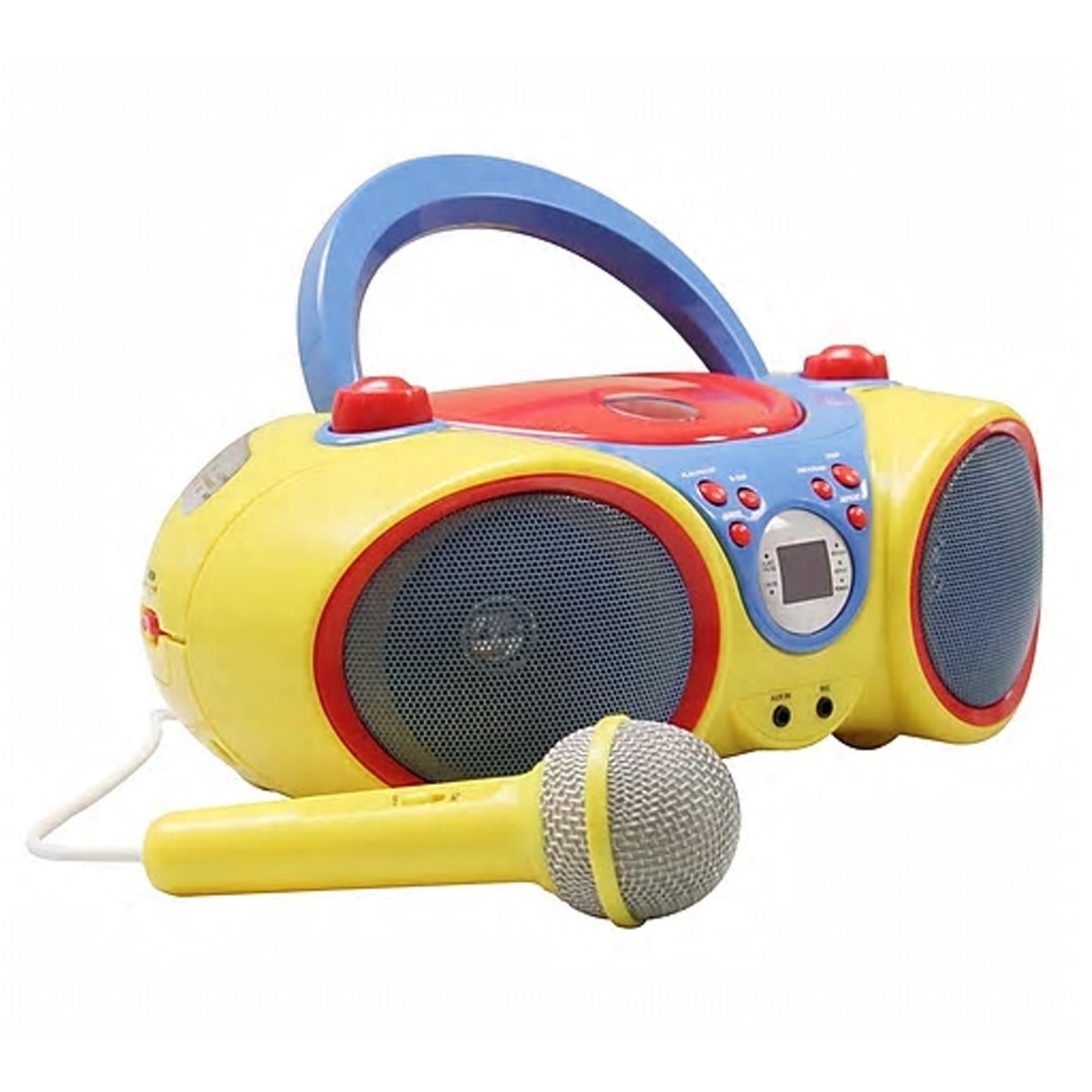 HamiltonBuhl Kids Audio CD Player Karaoke Machine with Microphone