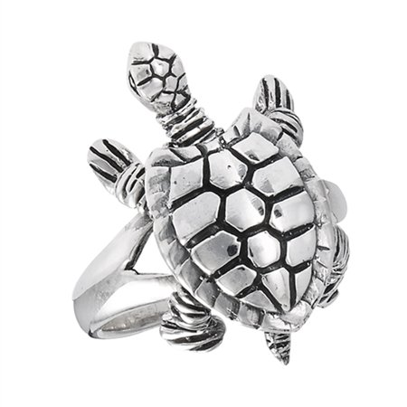 Movable Head Legs Tail Turtle Ring Sterling Silver Detail Animal Band Size 8