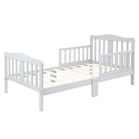 UBesGoo Toddler Bed, Wood Kids Bedframe Children Classic Sleeping Bedroom Furniture w/Safety Rail Modern Slat Design (White) ()