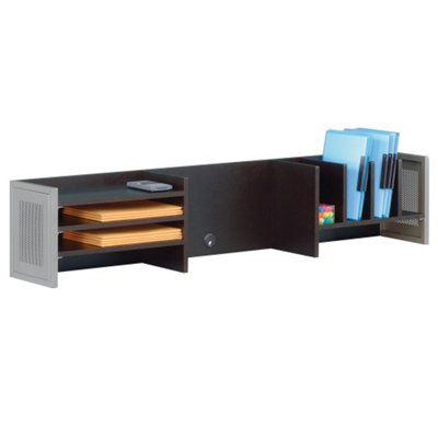 At Work 60 Quot W Hutch Warm Ash Laminate Brushed Nickel Painted Metal Accents Walmart Com