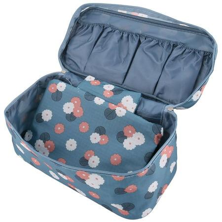 Flower Pattern Zippered Drawer Dividers Underwear Bra Organizer Storage Bag Blue - image 1 of 5