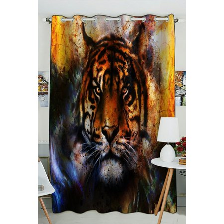 PHFZK Animal Window Curtain, Watercolor Tiger Window Curtain Blackout Curtain For Bedroom living Room Kitchen Room 52x84 inches One (Tigers Window)