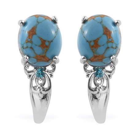 Platinum Oval Blue Turquoise Signity Pariaba Topaz J-Hoops, Hoop Earrings for Women