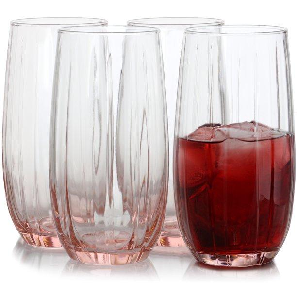 Pasabahce Lotus 4 Piece 16.9 oz Cooler Glass Set in Pink ...