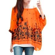 Women's Dolman Sleeve Loose Chiffon Blouse Orange (Size XL / 16)