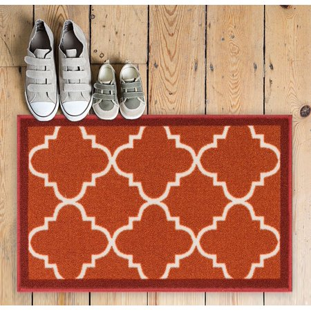 Well Woven Non-Skid Slip Rubber Back Antibacterial 2x3 (2' x 3') Dallas Moroccan Trellis Rust Red Modern Geometric Lattice Thin Low Pile Machine Washable Indoor Outdoor Kitchen Entry ()