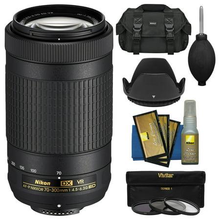 Nikon 70-300mm f/4.5-6.3G VR DX AF-P ED Zoom-Nikkor Lens with 3 UV/CPL/ND8 Filters + Hood + Case + Kit for D3300, D3400, D5500, D7100, D7200