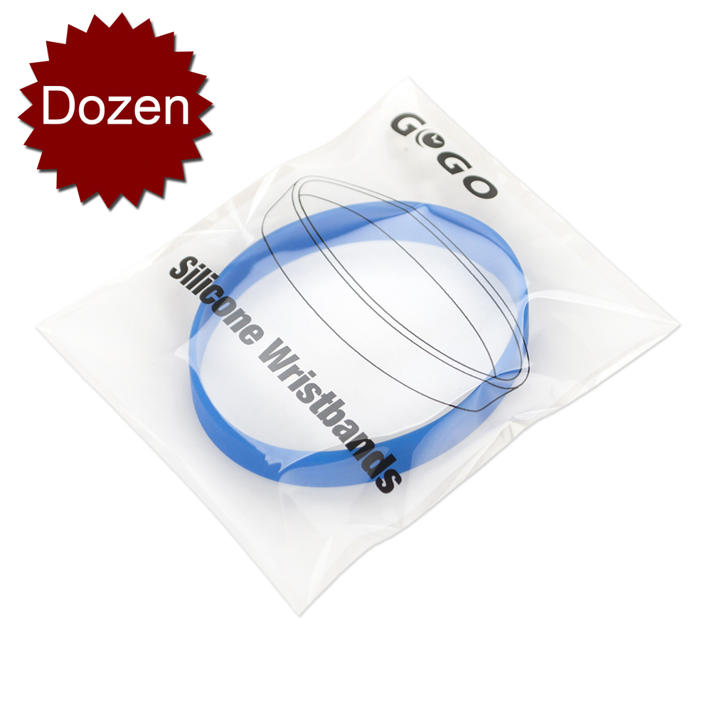 GOGO 12PCS Silicone Wristbands for Kids, Rubber Bracelets, Party Favors-Royalblue