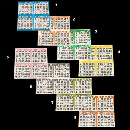 Bingo Paper Game Cards - 4 cards - 8 sheets - 50 books - 8 Inch Square Size Disposable Sheet - Made in USA - Halloween Bingo Sheets Printables