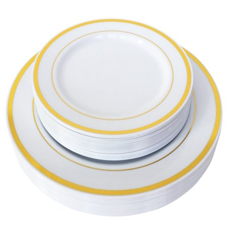 JL Prime 50 Piece Gold Plastic Plates for 25 Guests, Heavy Duty Reusable Disposable Plastic Plates with Gold Rim for Party and Wedding with 25 Dinner Plates & 25 Salad Plates ()