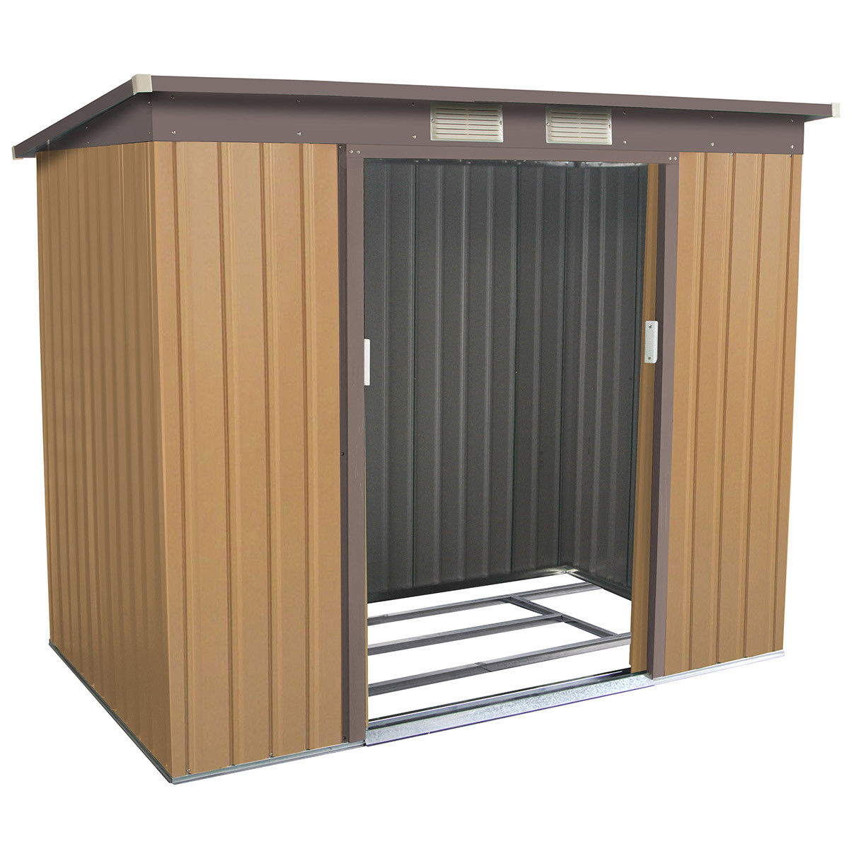 Gymax Outdoor Garden Storage Shed Tool House Sliding Door Metal Frame Khaki