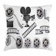 Movie Theater Throw Pillow Cushion Cover, Movie Industry Themed Greyscale Illustration of Projector Film Slate and Reel, Decorative Square Accent Pillow Case, 20 X 20 Inches, Grey Black, by Ambesonne