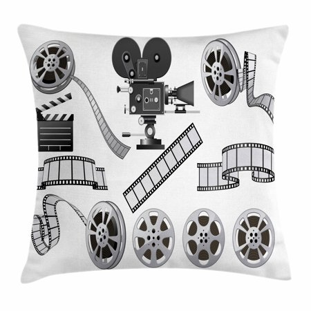 Movie Theater Throw Pillow Cushion Cover, Movie Industry Themed Greyscale Illustration of Projector Film Slate and Reel, Decorative Square Accent Pillow Case, 18 X 18 Inches, Grey Black, by - Movie Themed