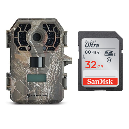 StealthCam G42 No-Glow Trail Game Camera + SanDisk Ultra 80MB s 32GB SD Card by Stealth Cam