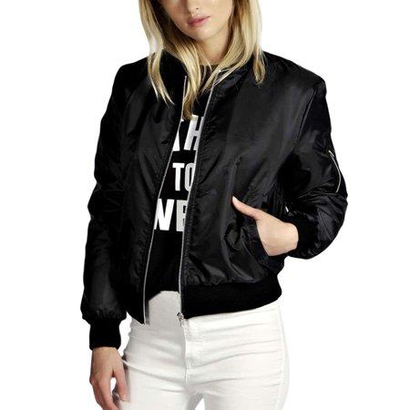 Lavaport Women's Classic Casual Bomber Jacket Biker Jacket Outwear