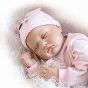 Reborn Dolls 22 Inch Full Silicone, Baby Dolls That Look Real Life, 55CM 6PCS Kids Reborn Baby Doll Vinyl Lifelike Newborn Doll Girl Best Christma Gift pink