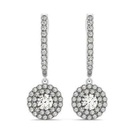 14K White Gold Double Halo Round Diamond Drop Earrings (1 ct. tw.)