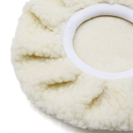2 Pcs 7.4'' Dia Off White Faux Wool Buffing Polishing Pad Polisher for Auto Car - image 1 de 2