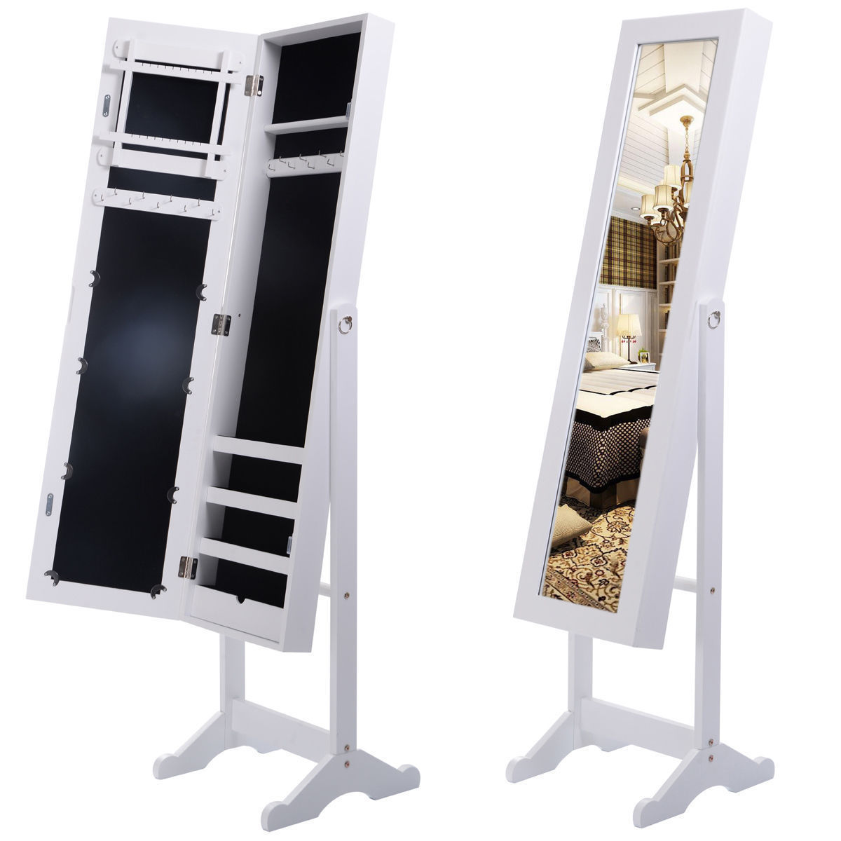 mirrored jewelry cabinet mirror organizer armoire storage box ring wstand white