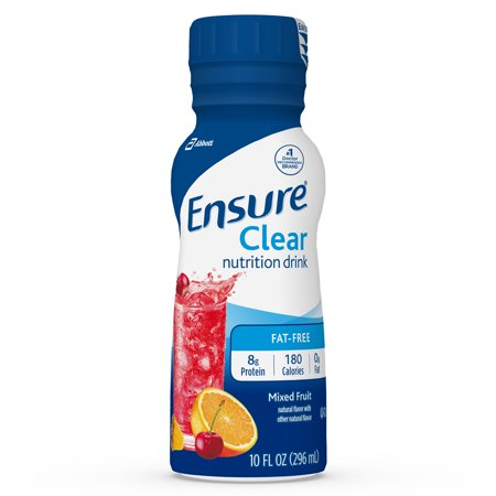 Ensure Clear Nutrition Drink, 0g fat, 8g of high-quality protein, Mixed Fruit, 10 fl oz, 12