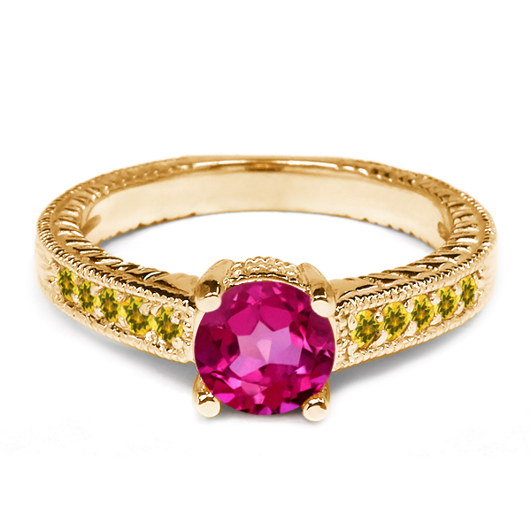 1.20 Ct Pink Mystic Topaz Simulated Citrine 925 Yellow Gold Plated Silver Ring by