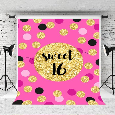 GreenDecor Polyster 5x7ft Pink Theme Sweet 16 Photography Backdrop Golden Circle Background for Princess Photo Studio Props - Princess Background