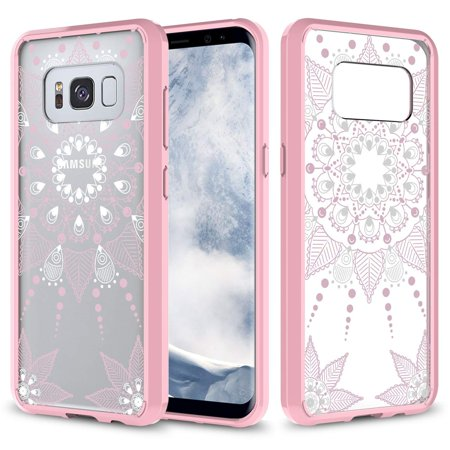 Galaxy S8 Plus Case, Ultra Thin Scratch Resistant Hybrid Case for Samsung Galaxy S8 Plus - Pink Henna Mandala Floral Lace