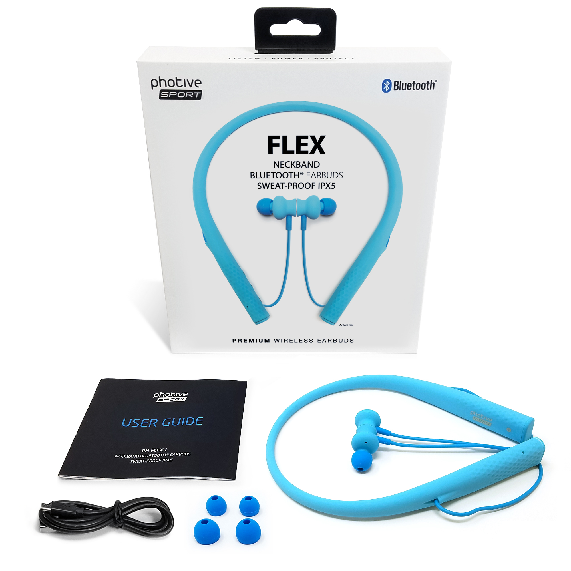 4022110bbd4 Photive Flex Wireless Bluetooth Stereo Neckband Headphones with Magnetic  In-Ear Earbuds. Comfortable Lightweight Silicone thats Sweatproof and  Secure-Fit ...