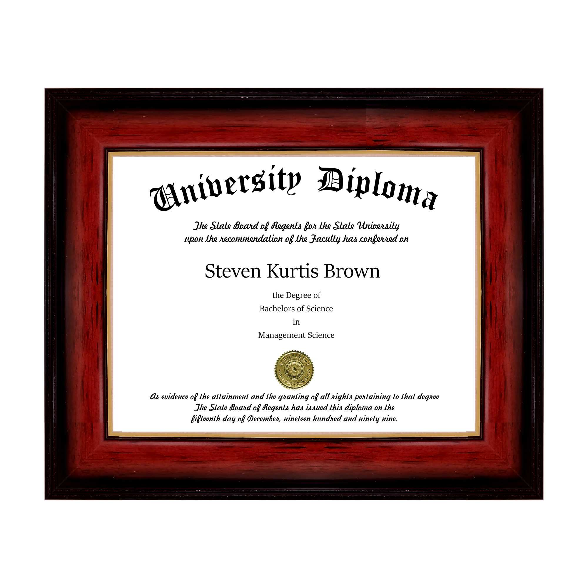 "Single Diploma / Document Frame for 11"" wide x 8.5"" Tall Diploma"