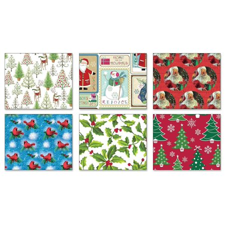 Pack of 6 Rolls of Holiday Wrapping Paper 6 Different Traditional Greetings Christmas Gift Wrap 30in x 14ft Rolls Included Xmas Reindeer, Presents, Santa, Snowmen Gift Wrap Wrapping Paper