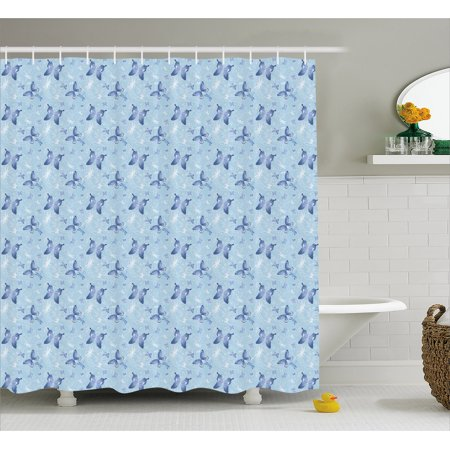 Butterfly Shower Curtain Blue Color With Dragonflies Floral Arrangement Swirls Curves Spring Fabric Bathroom