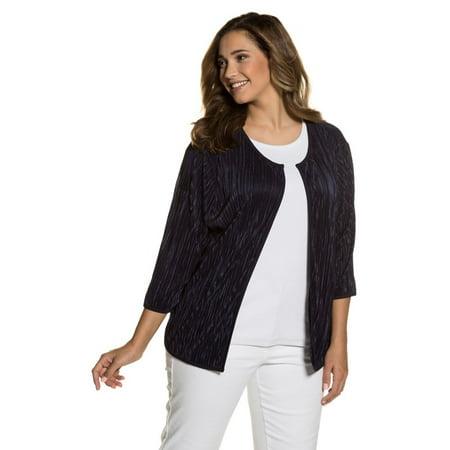 Ulla Popken Women's Plus Size Open Front Pleated Jacket 712388