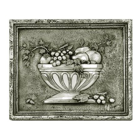 Design Tuscany DT-17-2013P Mediterranean Fruit Bowl 3 Backsplash & Mural Tile, Pewter