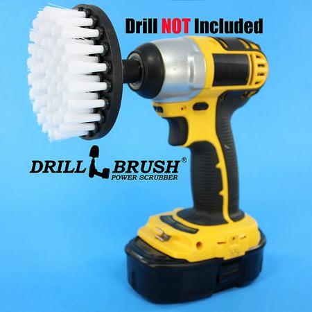 4 Inch Brush - 4 inch Drill Brush Soft Bristle White Quick Change Shaft by Drillbrush Power Scrubber