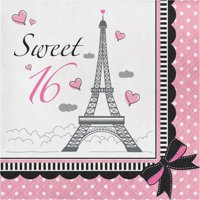 Party Creations Party in Paris Sweet 16 Lunch Napkins, 18 Ct