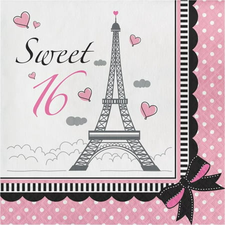 Party Creations Party in Paris Sweet 16 Lunch Napkins, 18 Ct](Ideas For Sweet 16 Party)