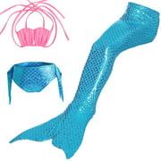 Aramox Girls 3pcs Swimwear Top Panties Mermaid Tail Swiming Costume Monofin Flippers Swimsuit,Kids Memaid Costumes, Fishtail Swimming Suit