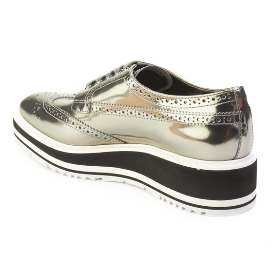 2aa03a7254a Prada - Prada Women s Leather Platform Derby Shoes Silver - Walmart.com