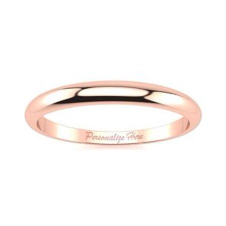 Flat Tapered Wedding Band (10K Rose Gold 2MM Heavy Tapered Ladies and Mens Wedding Band Size 7 Free Engraving )