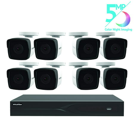 LaView LV-937EIAE8H5-2 8-channel 5MP IP 2TB HDD Surveillance DVR with (8) 5MP Bullet Cameras
