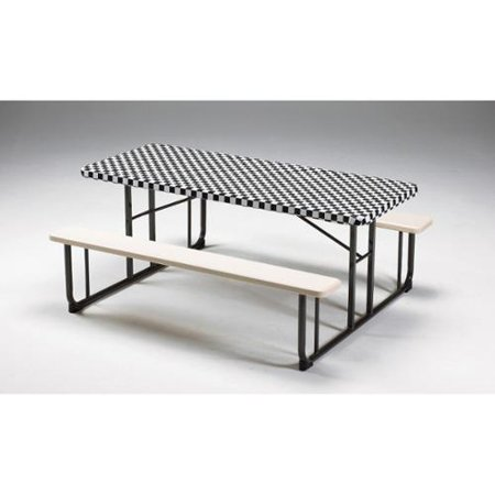 Stay Put Table Covers (Club Pack of 12 Black Checkered Stay Put Disposable Plastic Picnic Party Table Covers)