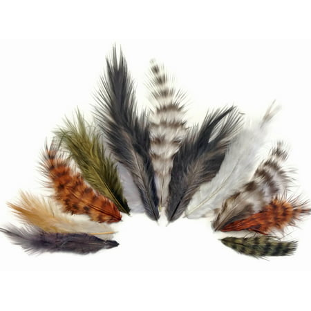 1 Pack - Natural Mix Grizzly Rooster Chickabou Fluff Wholesale Feathers 0.05 Oz. (Bulk) (Mixels Vulk)