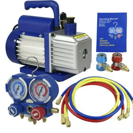 4CFM 1/3 HP Air Vacuum Pump HVAC Refrigeration KIT A/C Manifold Gauge Set