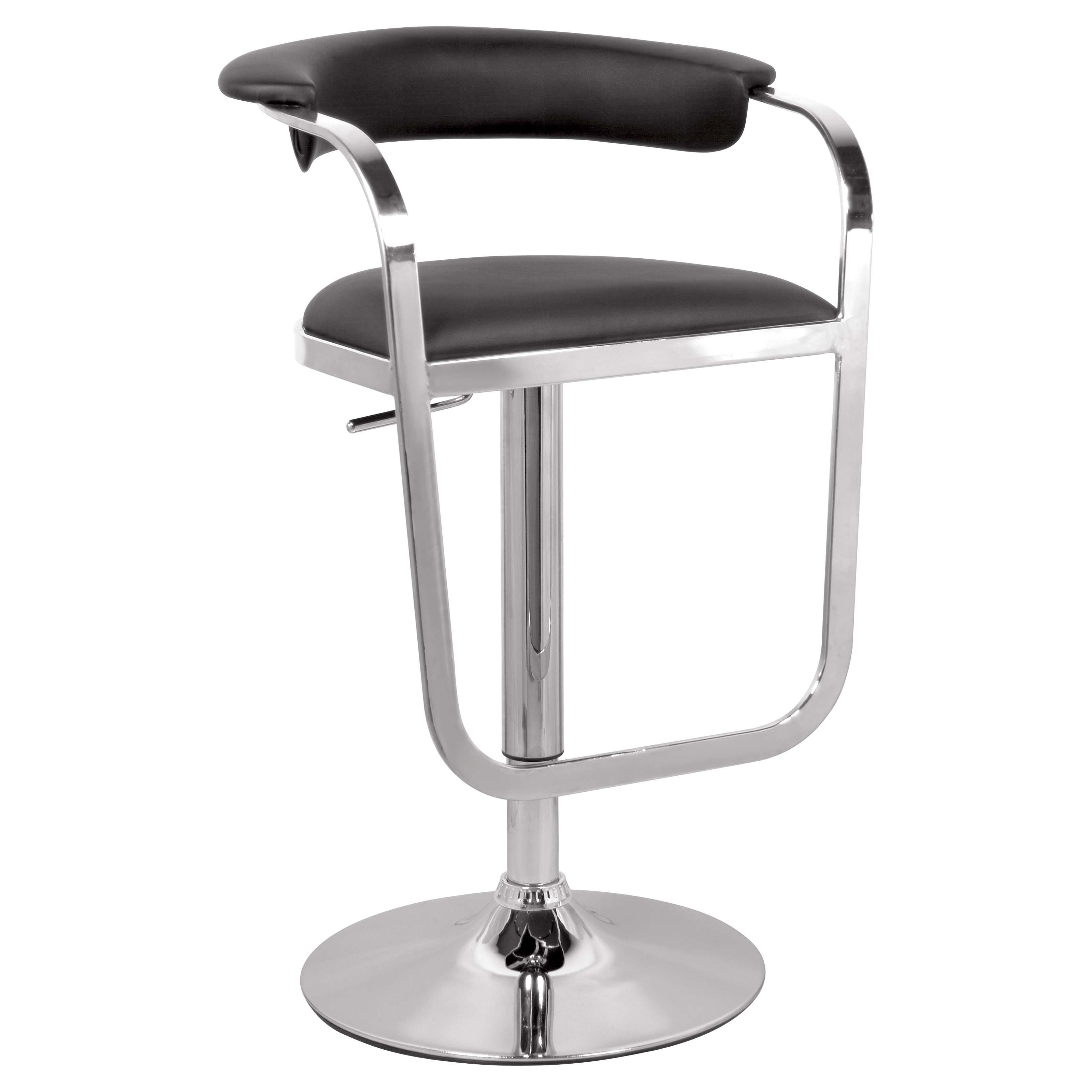 Chintaly Colby Pneumatic Gas Lift Adjustable Height Swivel Bar Stool - Black