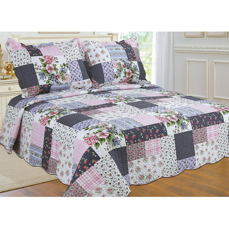 All for You 3pc Reversible Quilt Set, Bedspread, and Coverlet with Flower Prints-4 different sizes-Navy Pink Patchwork Prints ( full/queen 86