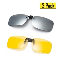 Cyxus [2 Pack] Polarized Lenses Classic Clip-On Sunglasses,[Anti-glare] [UV Protection] Driving/Fishing/Sport/Night Vision Eyewear